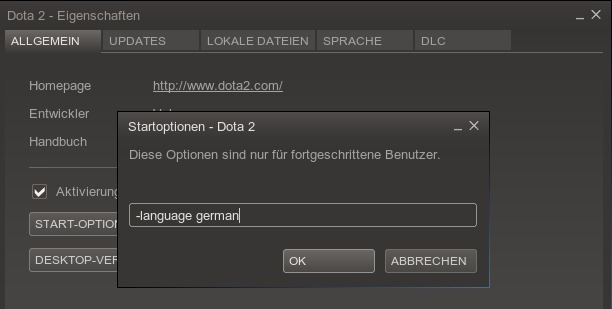 Dota2 Linux-Client: Solution to change the language