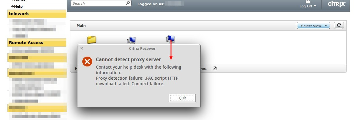 Citrix & Linux: .PAC script HTTP download failed! Cannot detect proxy server.