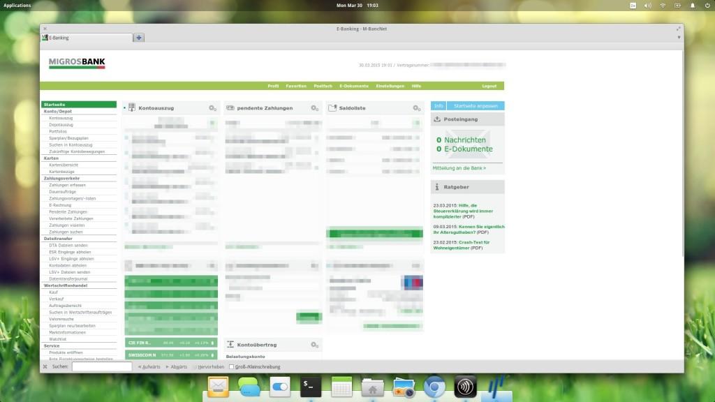 Goodbye Linux Support! Ein letzter Blick auf das Migros Bank eBanking mit elementaryOS Linux.....