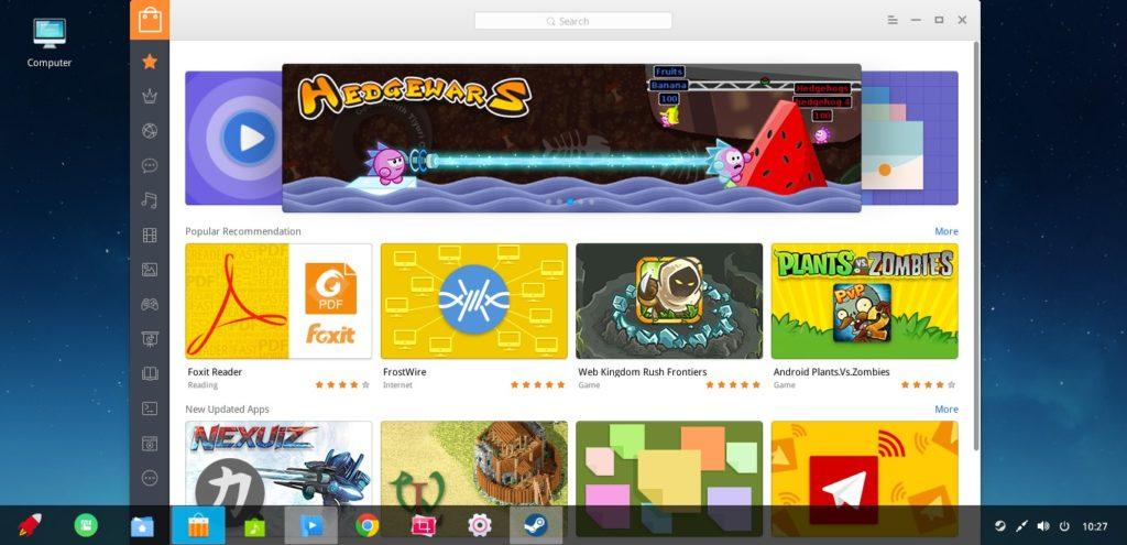 """Der Deepin Store mit kostenlosen Programmen für einen """"One-Click-Download""""."""
