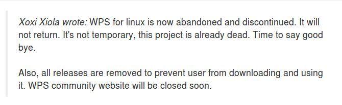 Ein Community-Mitglied befürchtet schon, WPS Office für Linux komme nie wieder. Es ist unklar, ob er Insiderwissen hat.