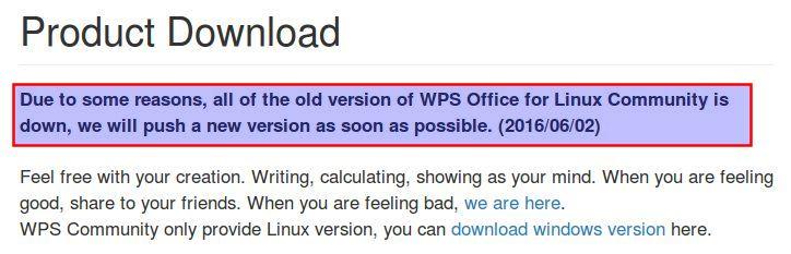 Wo einst der Download-Link zum .deb Paket war, ist nur noch eine Offline-Meldung zu finden.