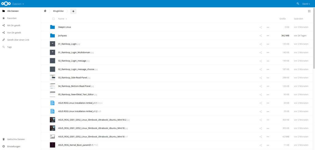 Ein Blick ins Innere von Nextcloud: Schaut gleich aus wie Owncloud, nur hellblauer.