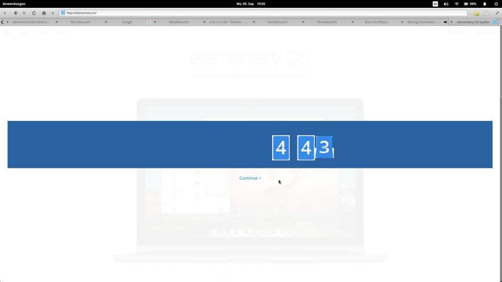 Unbrauchbarer Browser: Sogar der Countdown auf elementary.io wird nicht korrekt dargestellt.