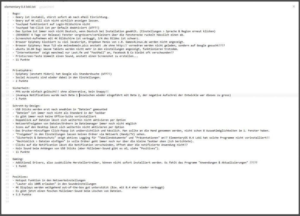 Meine Notizen zu elementary 0.4 Loki: Fehler, Probleme und seit immer fehlende Verbesserungen. Es macht einfach keinen Spass mehr.