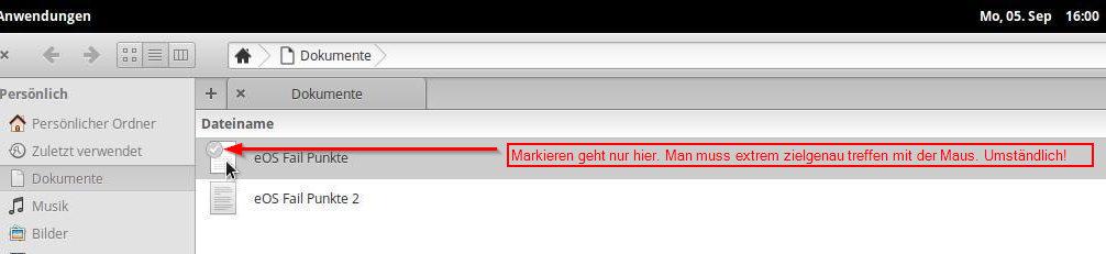 Die erzwungene 1-Klick-Politik macht das Markieren von Dateien zur Qual.