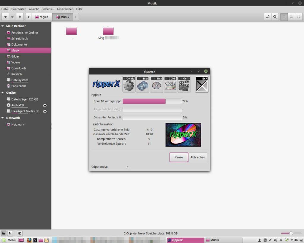 Audio CDs rippen ist auch unter Linux schnell erledigt.